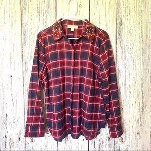 Michael Kors Plaid Flannel Studded Collar Red L